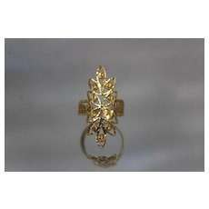 22k 22c - Vintage Diamond Cut Filigree Ornate Shield Ring in Bright Yellow Gold