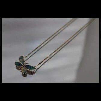 18k - Vintage Glossy Enameled Butterfly Bug Pendant on Box link Necklace