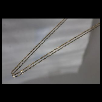 18k - 1.3 mm - Vintage Beaded Link Cone Rod Necklace in Yellow Gold