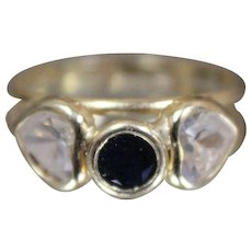 18k - Heart Shaped CZ & Black Onyx Night Day Black White Ring in Yellow Gold