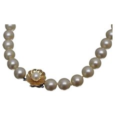 """14k - 17"""" - Art Nouveau Strand of Pearl with Fancy Floral Clasp Buckle in Yellow Gold"""