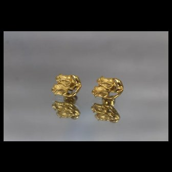 21k 21c - Vintage Double Rose Floral Stud Earrings in Bright Yellow Gold