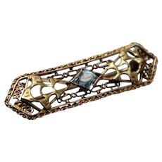 10k - Art Deco Filigree Bar Pin with Light Blue Stone in Yellow Gold
