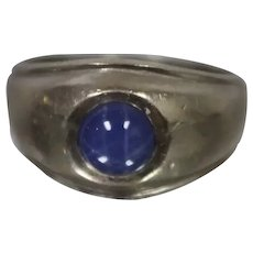 14k - Vintage Simple Blue Star Sapphire Cabochon Cut Ring Band in White Gold