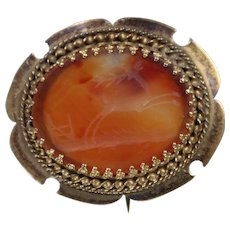 20k - Vintage Deer Carved Carnelian Cameo Brooch with Yellow Gold bezel