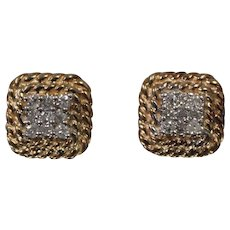 14k - .33 ctw - Squared Diamond Cluster Studs with Rope Bezel Edge in Yellow Gold