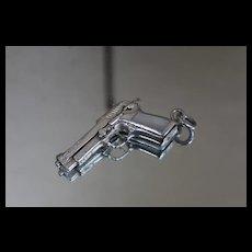 925 - Vintage Southwest Design Articulating Handgun Pistol w/ Mother of Pearl Inlay Pendant Sterling Silver