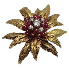 18K Yellow Gold Toliro Italy High Quality Brooch with Ruby & Diamond