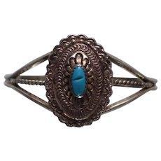 925 - Southwestern Native American Zuni Aztec Turquoise Symmetrical Cuff Bangle Bracelet in Sterling Silver