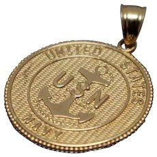 14k - United States Navy Pendant with Prayer on Back in Yellow Gold