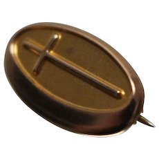 10k - Small Size Oval Cross Pin in Yellow Gold