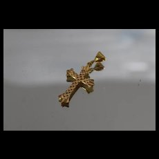 21k - Reversible Patterned Checkerboard Style Cross Pendant Charm in Bright Yellow Gold