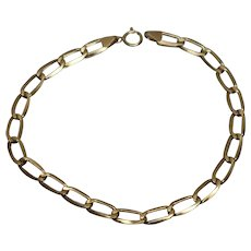 "14k - 7.25"" - Elongated Oval Curb Link Bracelet in Yellow Gold"