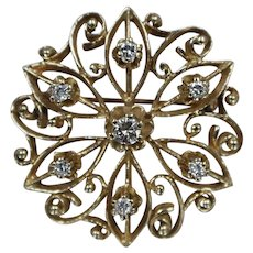 14k - 0.50 CTW - Early to Mid 20th Century Diamond Floral Star Pattern Brooch/ Pin in Yellow Gold