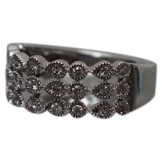 10k - .33 ctw - Alternating Shape Beaded Diamond Cut Out See through Band in White Gold