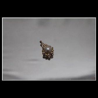 10k - Diamond & Pearl Sunrise Halo Star Pendant in Yellow Gold