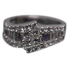PT950 - 1.50 CTW - Round, Baguette, and Princess Cut Diamond Ring in Platinum