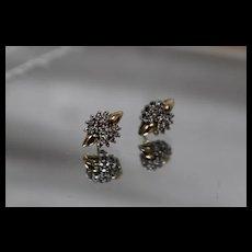 14k - .75 ctw - Symmetrical Bright Diamond Cluster Stud Earrings in Yellow Gold