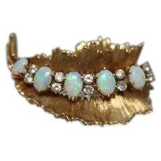 18KT Crystal Opal & Diamond Brooch in Yellow Gold -- w/ Appraisal