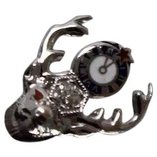 14k - .05 ct - Elk Tie Tac Pin with Enameled Clock at top in White Gold
