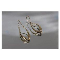 14k - Abstract Fancy Twisted Dangle Drop Earrings in Yellow Gold