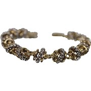 """14k - 8"""" - Fancy Two-Tone Twisted Cable Link with Alternating White & Yellow Gold Bracelet"""