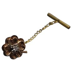 14k - .03 ct - Diamond Irish 4 Leaf Clover Good Luck Charm Pin in Yellow Gold