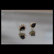 14k - 2.00 ctw - Tear Drop Diamond Halo Sapphire Cluster Stud Style Earring in Yellow Gold