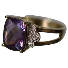 10k - 5.75 CTW - Faceted Beautiful Amethyst & Diamond Split Shank Colored Stone Ring in Yellow Gold