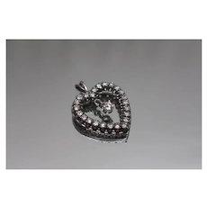 14k - 1.33 CTW - Happy Floating Diamond Dangle Heart Pendant Charm in White Gold