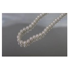 """14k - 20"""" Strand of Pearls Necklace with Ornate Clasp in Yellow Gold"""