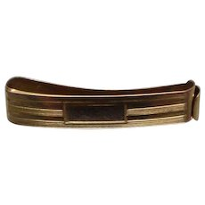 10k - Art Deco Articulated Tie Clip with Name Plate in Yellow Gold