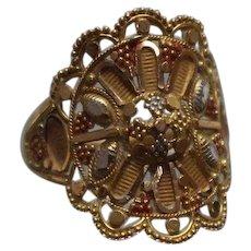 21k - Asian Fancy Beaded Fan Sun Burst Diamond Cut Ring in Yellow Gold