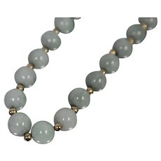 "14k - 26"" Marbled Jade & Gold Bead Link Necklace in Green Jade & Yellow Gold"