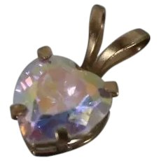 10k - Vintage Multi Color Cubic Zirconia Petite Heart Pendant in Yellow Gold