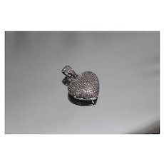 10k - 1.50 CT - Diamond Encrusted Micro Set Diamond Heart Pendant in White Gold