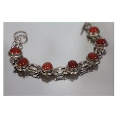 """7.5"""" - 925 - Fancy Hand Made Link with Oval, Orange Opaque Stones in Alternating Links in Sterling Silver"""