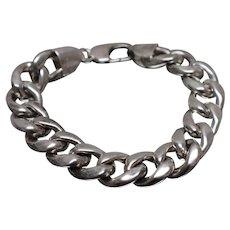 """925 - 7.75"""" - Wide Biker Style Curb Link Bracelet in Sterling Silver"""