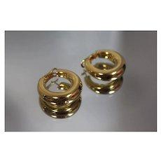 21k - Fancy Wide Smooth Fancy Style 3-D Hoops in Yellow Gold