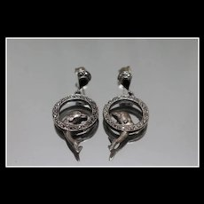 925 - Black Onyx & Marcasite Dolphin Trick Dangle Earrings with Stud Section in Sterling Silver