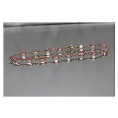 "14k - 7"" - Faceted Pink Cubic Zirconia Tennis Link Bracelet in Yellow Gold"
