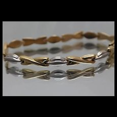 14k - Two Tone Fancy Design Hugs & Kisses Link Bracelet in White & Yellow Gold