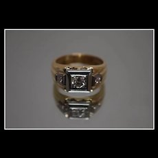 14k - .52 CTW - Two Tone Diamond Modernist Square Mounting in Yellow & White Gold