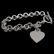 """925 - 7.25"""" - Cable Link with Heart Charm & Toggle Clasp in Sterling Silver"""