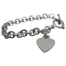"925 - 7.25"" - Cable Link with Heart Charm & Toggle Clasp in Sterling Silver"