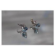 18k - 3.25 ct - High Quality Faint Blue Topaz & Diamond Liquid Style Stud Earrings in White Gold