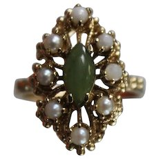 14k - Filigree Beaded Jade & Seed Pearl Marquise Detailed Beauty in Yellow Gold