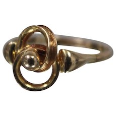 14k - Fancy Abstract Swirl Design with Bead Center Ring in Yellow Gold