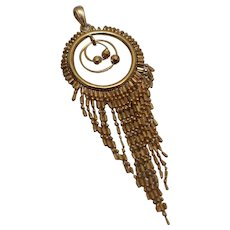 21k - Bright Graduated Flexible Beaded Chandelier Style Pendant Charm in Yellow Gold