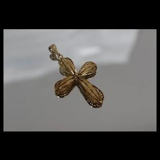 14k - Turkish Nouveau Style Filigree 3D 3 Dimensional Cross Pendant Charm in Yellow Gold